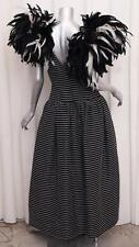 VICTOR COSTA Womens VINTAGE Black+White Striped Feather Formal Gown Dress 10/M