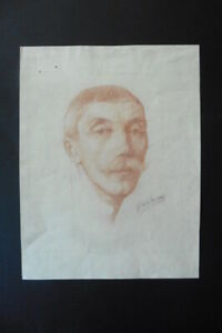BELGIAN SCHOOL 19thC - NATURALISTIC PORTRAIT OF A MAN - SIGNED RED CHALK DRAWING