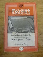 22/04/1961 Nottingham Forest v Leicester City  (Creased, Folded, Worn, Marked, R
