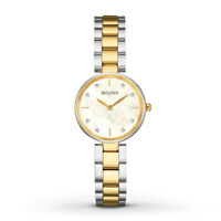 Bulova Women's Quartz Diamond Accent White Dial Two-Tone Band 27mm Watch 98P146