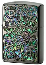 Zippo Armor Case Arabesque Shell Inlay Black Nickel Both Sides Etching Japan F/S