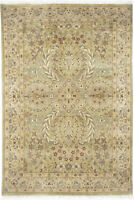 4X6 Hand-Knotted Lahore Carpet Oriental Green Fine Wool Area Rug D40504