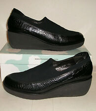DONALD J PLINER NORMA Womens Croc-Print Leather/Fabric Wedge Loafers Clogs 8.5 M