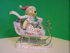 LENOX POOH'S CHRISTMAS SLEIGH RIDE Disney sculpture NEW in BOX with COA Piglet