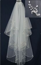 Luxury New 2T White Ivory Fingertip Length Beads Edge Wedding Bridal Veil Comb 2