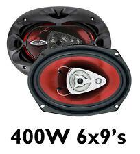 """Boss 6 """"x9"""" 6x9 400w 3 Vías coche trasera cubierta Oval Estante oradores, nuevo Par"""