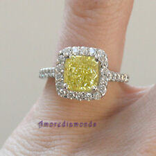 3.37 ct GIA fancy yellow VS1 natural radiant cut diamond halo antique ring gold