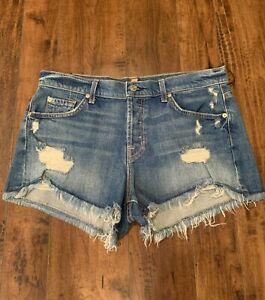 7 For All Mankind Distressed Cut Off Denim Shorts Sz 30 NWT $178