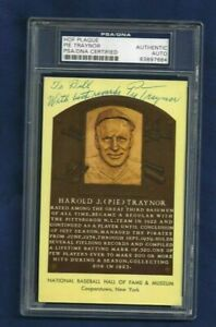Pie Traynor Autographed Pittsburgh Pirates Baseball HOF Plaque Postcard PSA SLAB