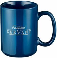 Faithful Servant Bible Verse 2 Chronicles 15:7 Coffee Ceramic 14oz. Mug Navy Men