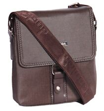 Mens Leather Look Cross Body Bag Small Size Fashion Travel Work Pouch Brown