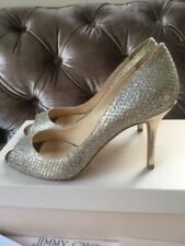 "Jimmy Choo ""Evelyn"" champán Plata Brillo Tacones Peep Toe bomba UK 3 EU 36"