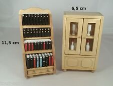 meubles en bois miniature,maison de poupée,vitrine, buffet,bibliothèque  ** B8