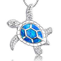 Silver-plated Blue Sea Love Chain Fashion Turtle Pendant Cute Necklace
