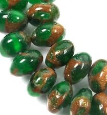 8x5mm Emerald in Quartz with Pyrite Rondelle Beads (40)