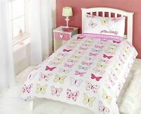 FLORAL BUTTERFLIES POLKA DOT PINK GREEN WHITE COTTON BLEND DOUBLE DUVET COVER