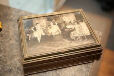 Vintage Antique Wooden Jewelry Box Victorian Scene Print Face, Glass Bottom