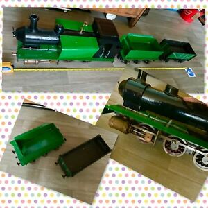 "Hand Made Metal Steam Train And Trailers Length 51"" Unfinished As No Engine"