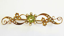 Stunning Antique Victorian 9ct Gold Peridot & Seed Pearl Brooch c1890 in Case