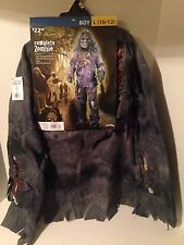 NWT Fun World Complete Zombie Boy/Child Costume Shirt Pants Mask Gloves Size L