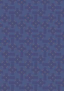 Lewis & Irene 'Iona' Celtic Cross on Blue 100% cotton quilting Metallic