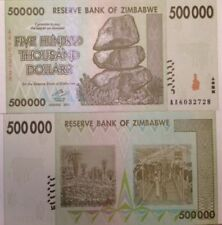 ZIMBABWE 2008 HYPER INFLATION $500,000 DOLLARS P-76 UNC BANKNOTE FROM USA SELLER