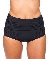 Athena Womens Swimwear Black Cabana Solids High Waist Bikini Bottom Size 14
