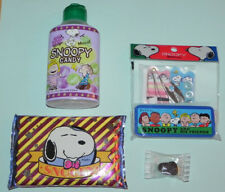 Snoopy Travel Sewing Kit w/Case & Pocket Tissues from Japan NIP + Bonus Candy