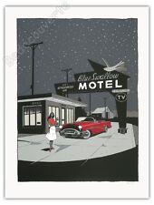 Affiche Sérigraphie Berthet Blue Swallow Motel 100ex num signé 60x80 cm