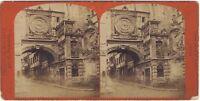 Rouen il Grande Orologio Foto Stereo Vintage Albumina Ca 1870