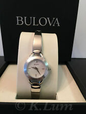 Ladies Bulova Crystal Accented Bangle Watch Mother-of-Pearl Dial Stainless Steel