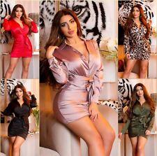 Koucla Damen Kleid Minikleid Party Satinlook zum Binden