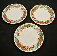 Home Accents Fine China Set of 3 Saucers Holiday Ribbon Christmas Gold Trim