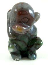 Green & Red Rocking Monkey Ape gemstone carving figurine love Chimpanzee zoo