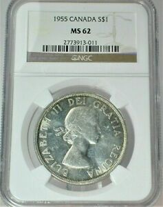 1955 Canada Silver Dollar (3 Water Lines) NGC MS 62 Condition KM# 54 (385)