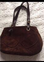 Coccinelle Suede Brown Shoulder Bag Leather Handles RRP £295