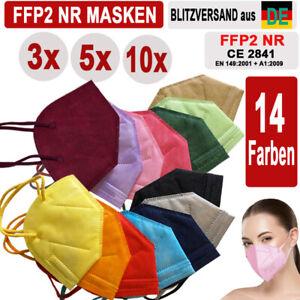 🔷🔶3 / 5 /10x FFP2 Color Masken Bunte Farbige Maske ZERTIFIKAT Farbig 14 Farben
