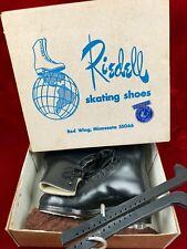 Vintage Riedell 375B Gold Star Men's Black Ice Skates 7.5 N + Box, Guard, Covers