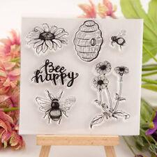 Happy Bee and flower honeycomb Silicone Stamp DIY Scrapbooking Photo Album ~JP