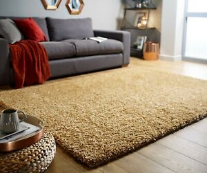VELOCE SPARKLE GOLD SOFT THICK DENSE PILE SHAGGY RUG in various sizes