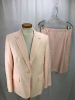 Talbots Women's Linen Blend Pink Skirt Suit 12P