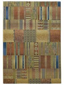 Webteppich 160x230 cm Patchwork-Design beige Teppich Florhöhe 9 mm