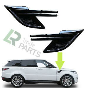 RANGE ROVER SPORT L494 GLOSS STEALTH BLACK SIDE WING AIR VENTS INSERTS (2014-17)