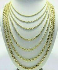 "Real 10K Yellow Gold 2mm - 6mm Diamond Cut Rope Chain Necklace Bracelet 16""- 30"""