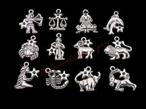 12 Pcs Set Tibetan Silver Zodiac Charms Horoscope Star Sign Jewellery Craft i60