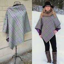 Beautiful Tweed poncho cape greens raspberry purples, paisley satin lining.
