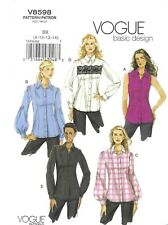 Vogue Pattern 8598, Easy Basics, Princess Seam Blouses, Big Sleeves, Size 8 - 14