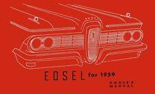 1959 Edsel Owner Manual User Guide Reference Operator Book Fuses Fluids