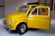LGB G Échelle 1:24 Fiat 500 L Lusso Modèle Jaune Voiture détaillé Burago