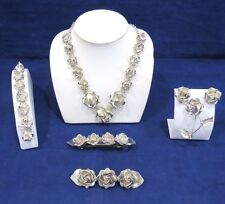 TAXCO MEXICO .925 ROSE FLOWER JEWELRY 6 PIECE SET